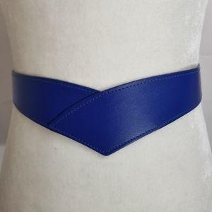 Blue V Waist Belt Silver Buckle
